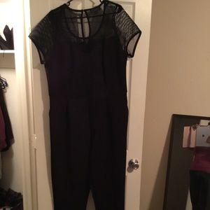 Black mesh jumpsuit